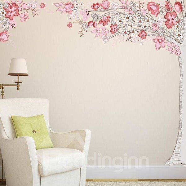 Beautiful Pink Flower Tree Pattern Wall Stickers