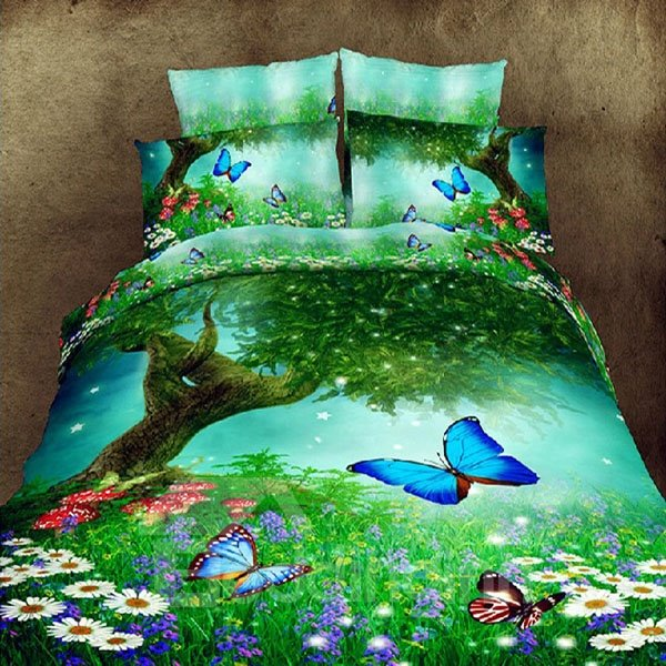 Beautiful Flowers and Butterflies Print Green Polyester 3D Fitted Sheet