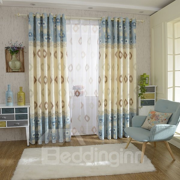Double Colored Jacquard and Printing Grommet Top Curtain Panel