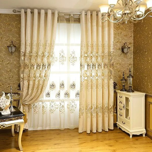 Blackout and Decoration Chenille Classic Embroidered Beige Grommet Top Curtain