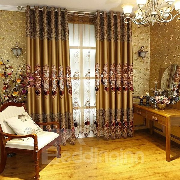 Decoration Artificial Embroidery Silk Fabric European Style Curtains for Living Room