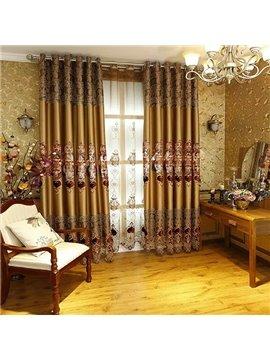Luxury European Embroidery Faux Silk Grommet Top Curtain Panel