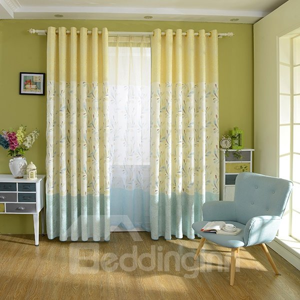 Charming Dual Colored Grommet Top Curtain Panel
