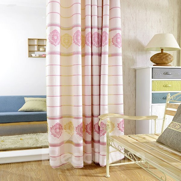 Anisopleural Color Embossing Pattern Grommet Top Curtain Panel