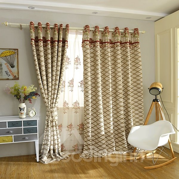 Concise Chenille Jacquard Grommet Top Blackout Curtain Panel
