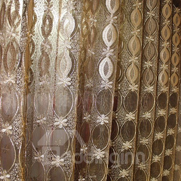 Elegant Gold Embroidery Custom Sheer Curtain