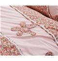 100% Cotton Personalized Hand-Appliqued Pink 4-Piece Duvet Cover Sets