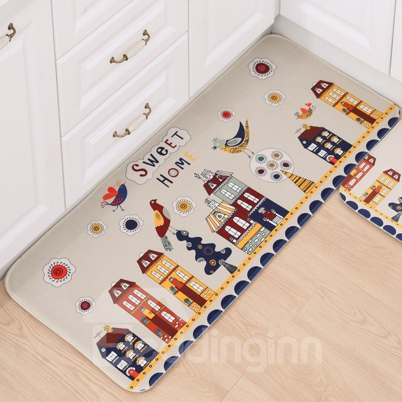 Simple Color Flowers and Birds Pattern Area Rugs