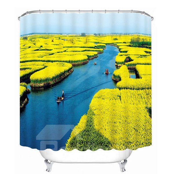 Spectacular Water Artificial Field Print 3D Bathroom Shower Curtain