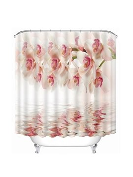 Gorgeous Pink Flowers and Shadow in the Water Print 3D Bathroom Shower Curtain