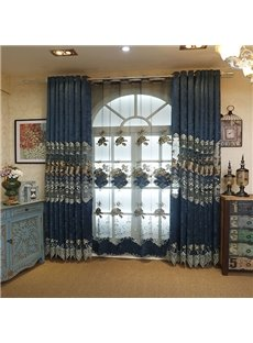 European Royal Style Chenille Embroidery Grommet Top Curtain Panel