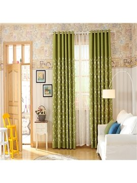 Cotton Polyester Ramie Blend White Flower Pattern Grommet Top Curtain Panel