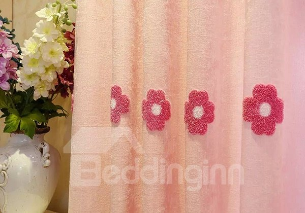 Chenille Embroidery Red Flower Pattern Grommet Top Curtain 2-Panels