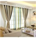 Chenille Imitation Cashmere Stripe Grommet Top Curtain 2-Panels
