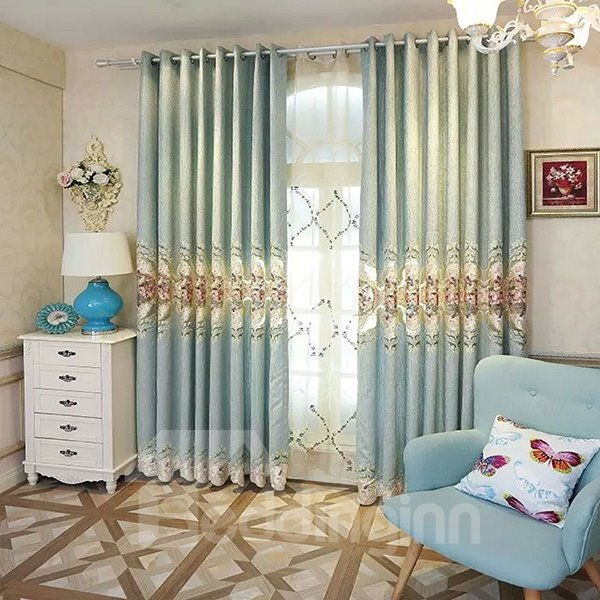 High-Quality Embroidered Velvet Grommet Top Curtain Panel