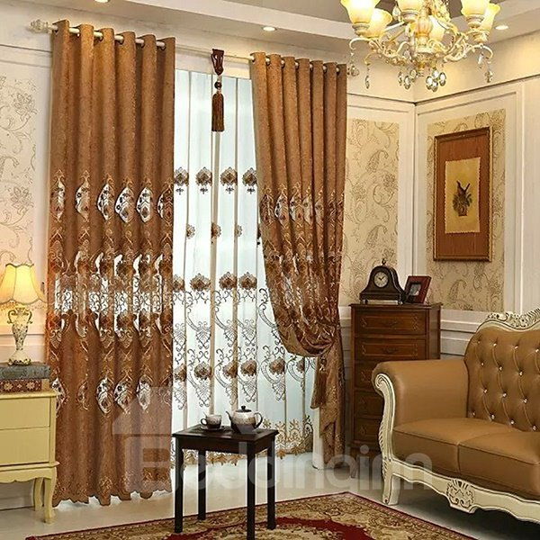 Luxurious Chenille Embroidery Grommet Top Curtain Panel