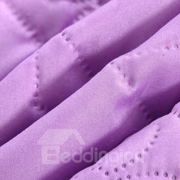 Luxury Ultra Soft Solid Purple Polyester Quilt