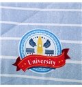 Unique University Badge and Stripes Blue Polyester Quilt