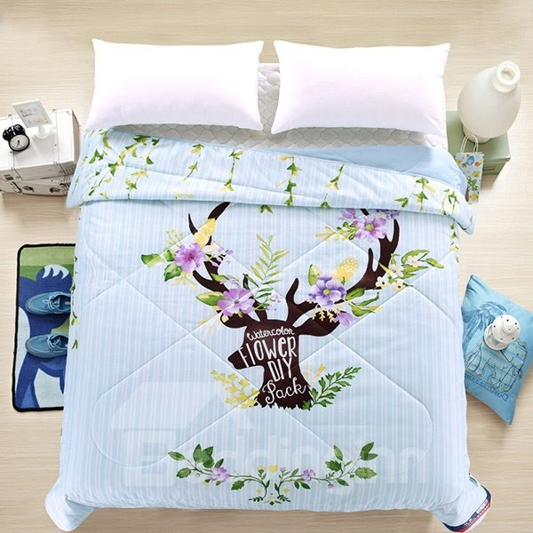 Creative Lovely Reindeer Print Blue Polyester Quilt