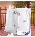Special Design Bicycles Reactive Printing White Polyester Quilt