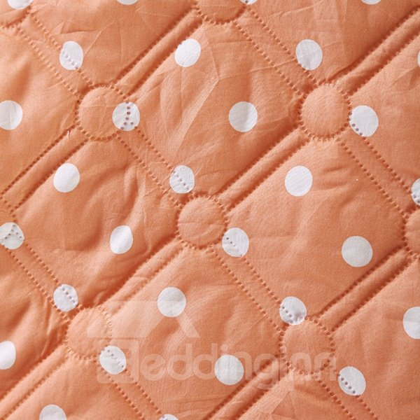 Concise White Polka Dot Print Pink and Khaki Polyester Quilt