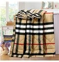 Attractive Neutral Plaid Print Polyester Comfortable Quilt