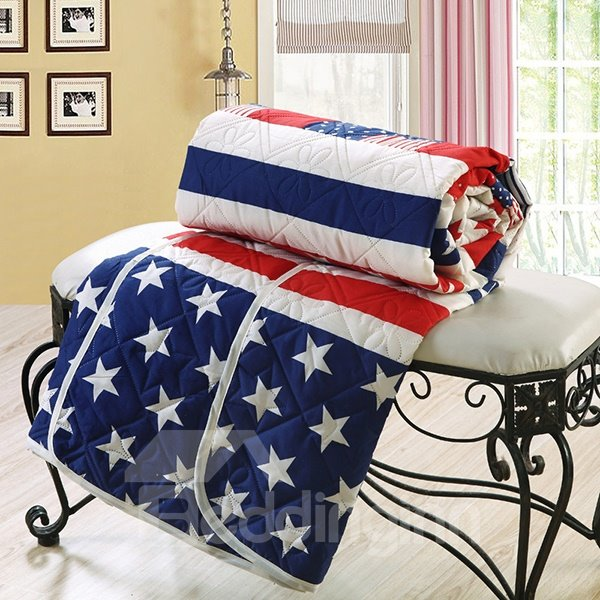 European Style Stars & Stripes Polyester Quilt