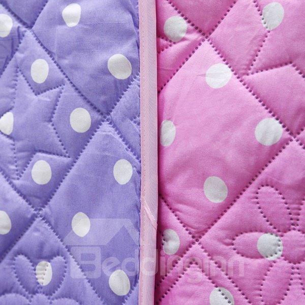 Fashionable White Polka Dot Print Purple Polyester Quilt