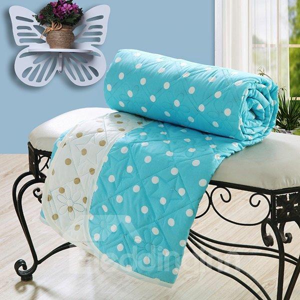 Modern White Polka Dot Print Blue Polyester Quilt