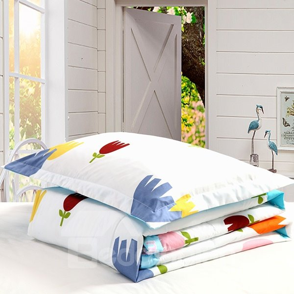 Colorful Flowers Print White Background Polyester Quilt