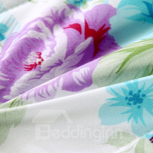 Rural Style Elegant Flowers Print Polyester Quilt