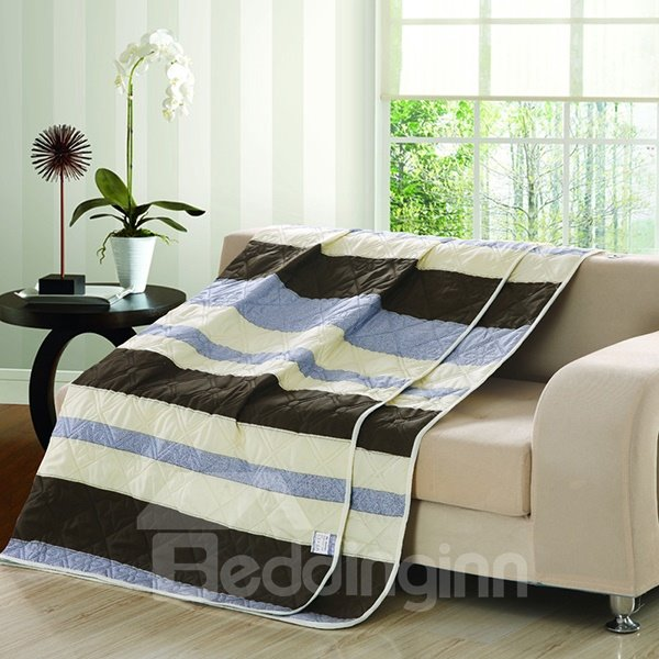 New Style Concise Stripe Design Polyester Summer Quilt