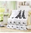Graceful Eiffel Tower Print White Polyester Summer Quilt