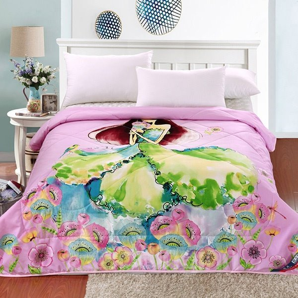 High Quality Beautiful Girl Design Pink Polyester Summer Quilt