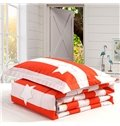 Fantastic Red and White Stripe Star Print Polyester Summer Quilt