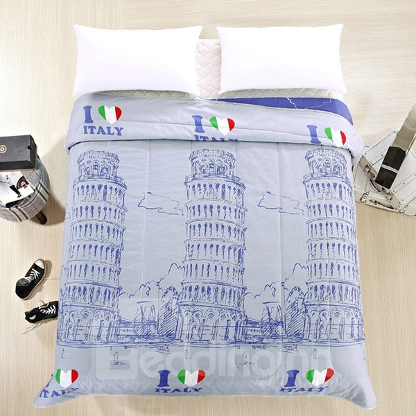 Cool Leaning Tower of Pisa Print Lavender Polyester Summer Quilt