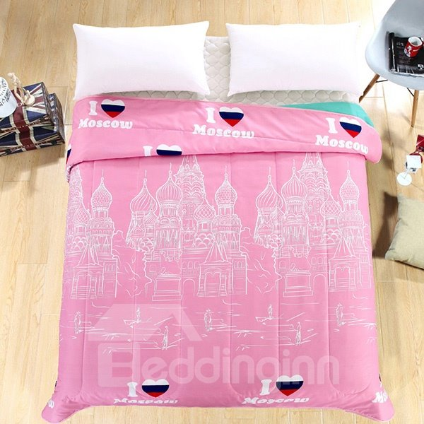 Charming Moscow City Print Light Blue Polyester Summer Quilt