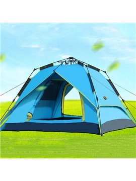 3-4 Person Outdoor Automatic Double Layers Tent with Rainfly Waterproof Square Roof Tent