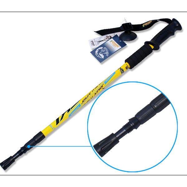 Resistant Triarticular Adjustable Hiking Trekking Straight Shank Alpenstock