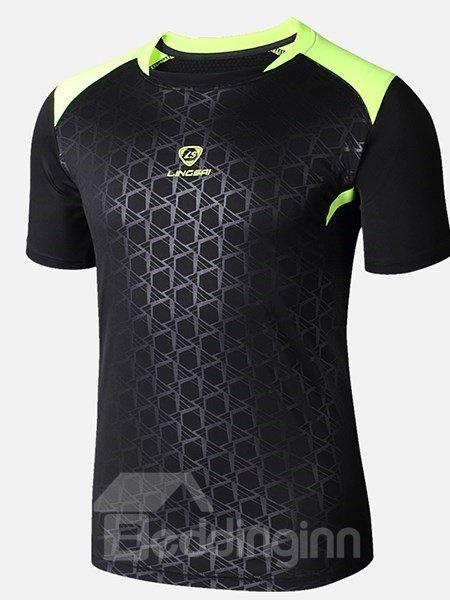 Simple Style Contrasting-Trim Short Sleeve Cycling Jersey Quick Drying Shirt
