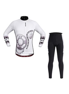 Men's White Gear Pattern 3D Padded Long Sleeve Jersey Cycling Clothing