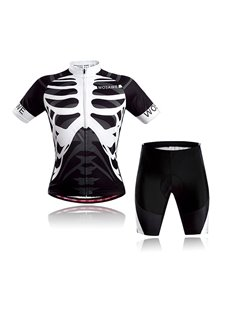 Men's Skeleton Cool Short Sleeve Jersey Black Bones Cycling Clothing