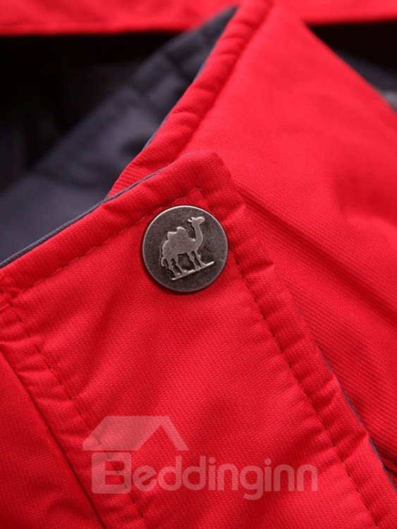Male Abrasion-resistant Outdoor Cloth with Stand Collar Windproof Hooded Jacket