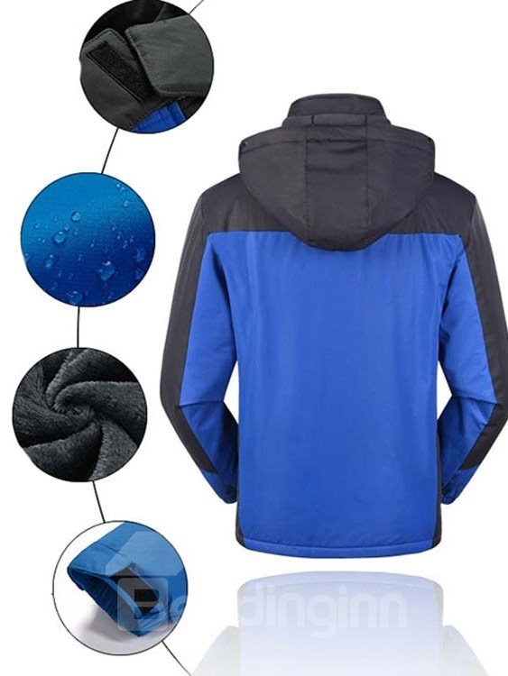 Male Outdoor Waterproof Fleece Cloth with Zip-Front and Stand Collar Thermal Jacket