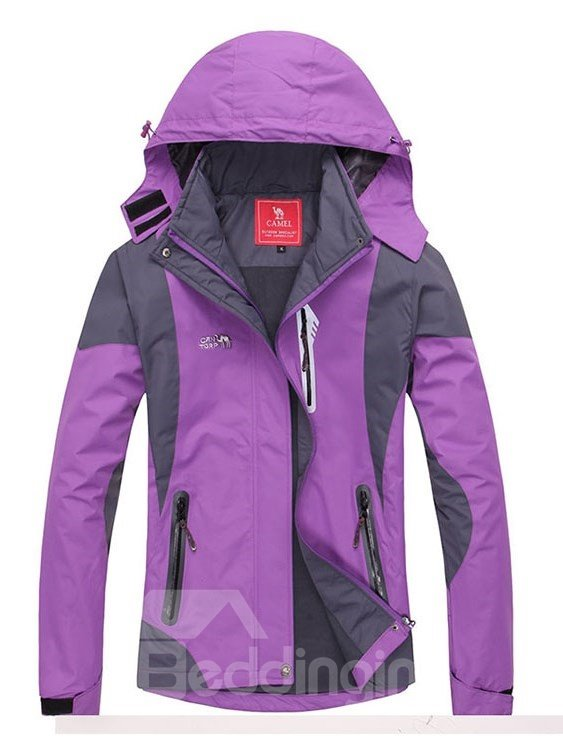 Female Outdoor Abrasion-resistant Stand Collar and Unlined Hiking Jacket