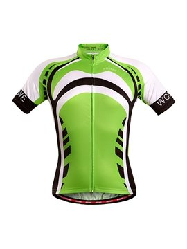 Men's Green Strip Pattern Short Sleeve Jersey 3D Padded Cycling Outfit