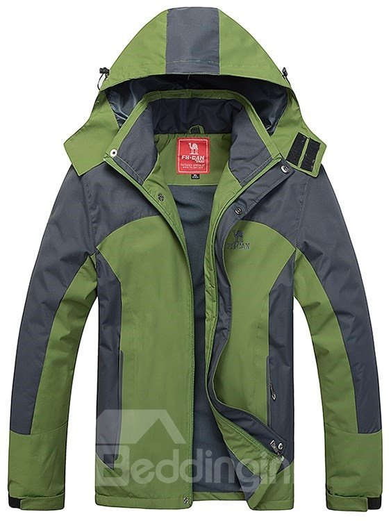 Male Outdoor Windproof Hooded Abrasion-resistant Thermal Jacket