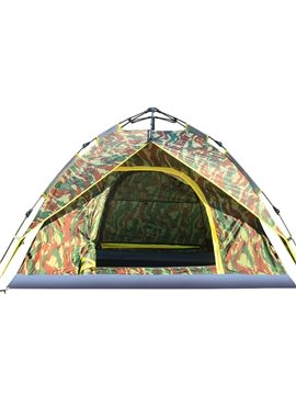 3-4 Person Camouflage Outdoor Double Layers Hydraulic Automatic Skeleton with Rainfly Camping Tent