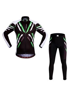 Men's Bright Green Strip Pattern Long Sleeve Jersey Cycling Clothing