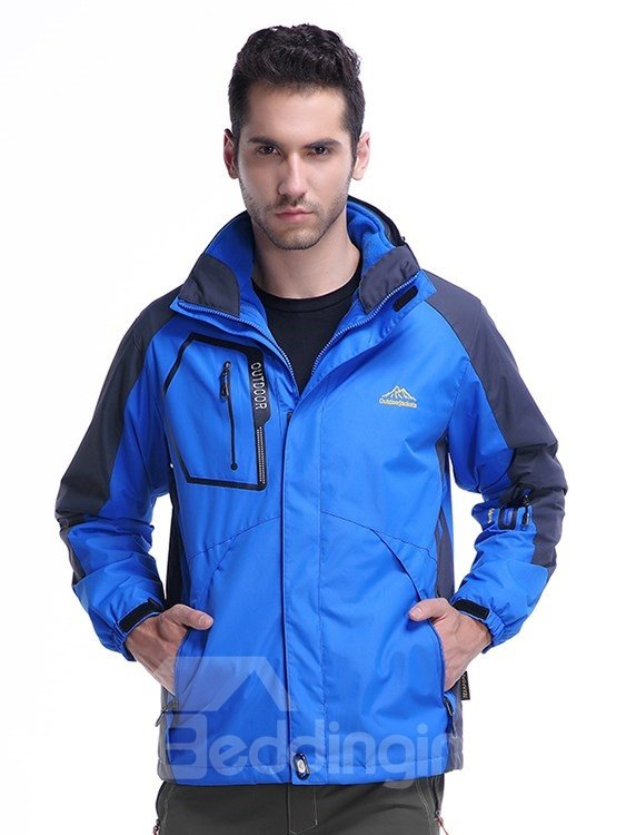 Male Outdoor 2 in 1 Fleece Cloth with Stand Collar and Removable Hat Waterproof Jacket